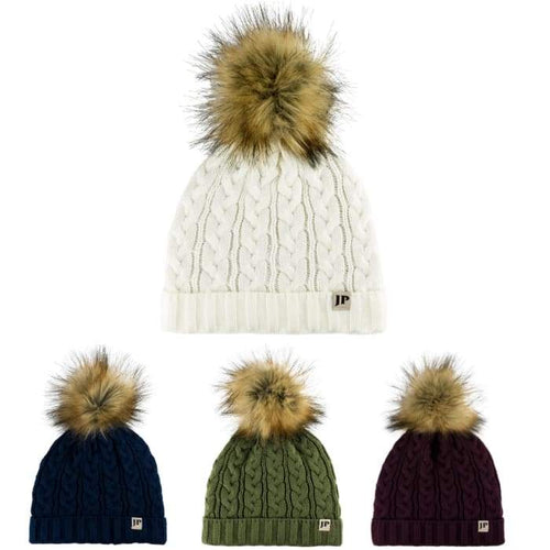 Ladies Heavy Weight Cable Knit Bobble Hats / Detachable Pom Pom - J and p hats Ladies Heavy Weight Cable Knit Bobble Hats / Detachable Pom Pom