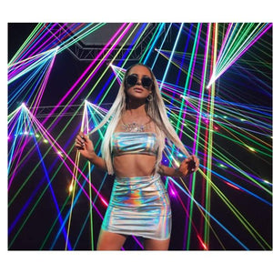 rave two piece set club outfits Festival clothing Holographic strapless crop top and skirt set - J and p hats rave two piece set club outfits Festival clothing Holographic strapless crop top and skirt set