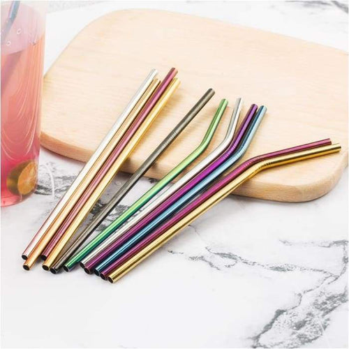 Save Plastic With These Colourful Stainless Steel Straws Reusable Straight or Bent With Cleaner Brush - J and p hats Save Plastic With These Colourful Stainless Steel Straws Reusable Straight or Bent With Cleaner Brush