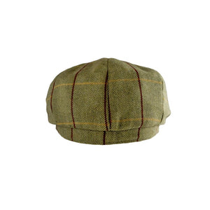 Wool Blend Baker Boy Cap  Green Tweed - Peaky Blinders Style - J and p hats