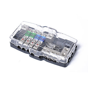 Multi-functional LED Car Audio Stereo Mini ANL Fuse Box With 4 Way Fuse block 30A 60A 80Amp and Battery Distribution 0/4ga