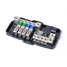 Load image into Gallery viewer, Multi-functional LED Car Audio Stereo Mini ANL Fuse Box With 4 Way Fuse block 30A 60A 80Amp and Battery Distribution 0/4ga