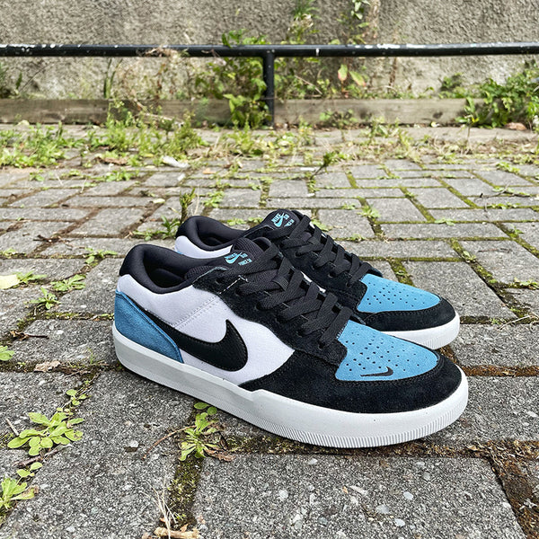 Nike SB Force 58 low top Skateboard shoes in a blue black and white