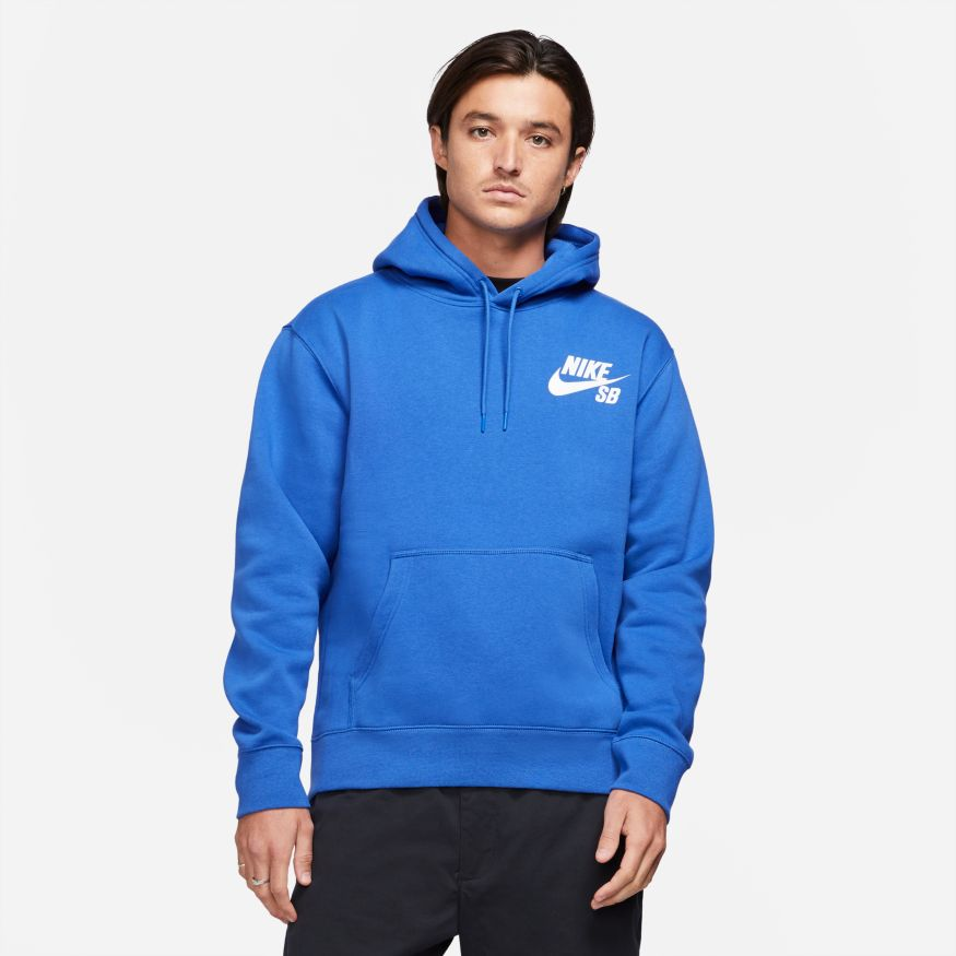 Nike SB Icon Skate Pullover Hooded Sweatshirt - Game Royal/White