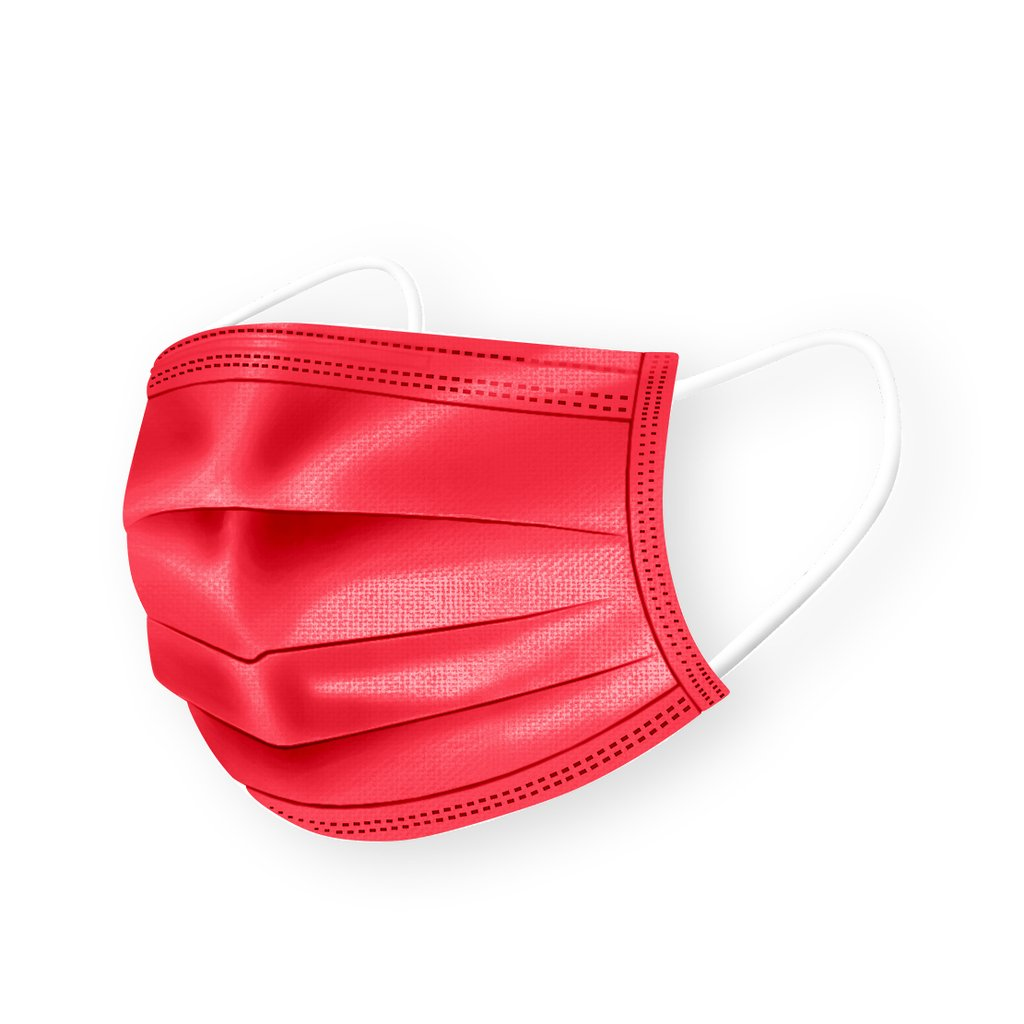 Medipop 5 Pack Of Disposable Masks - Coral Red