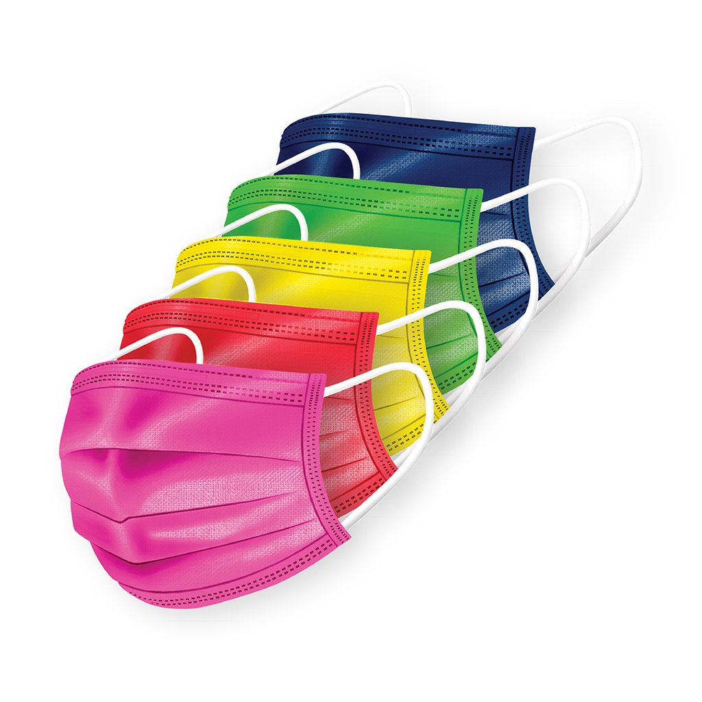 Medipop 5 Pack Of Disposable Masks - Rainbow Mix