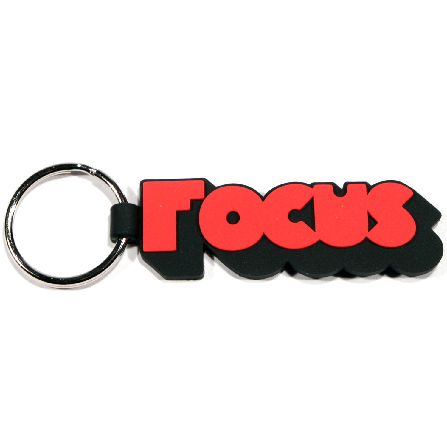 Focus 3D Logo Rubber Keychain - Black/Red