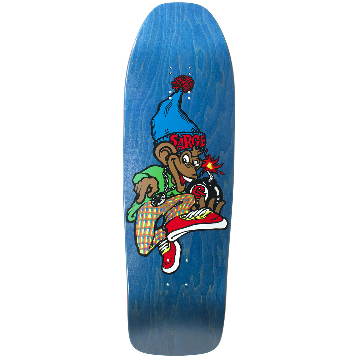 "New Deal Danny Sargent Monkey Bomber Deck Blue - 9.625"" Screenprinted"