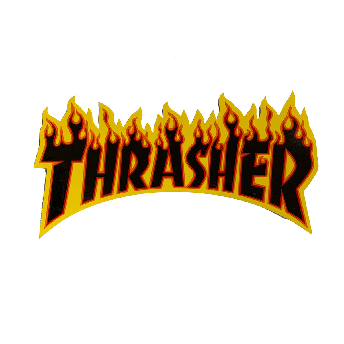 Thrasher Flame Logo Sticker - Black/Yellow