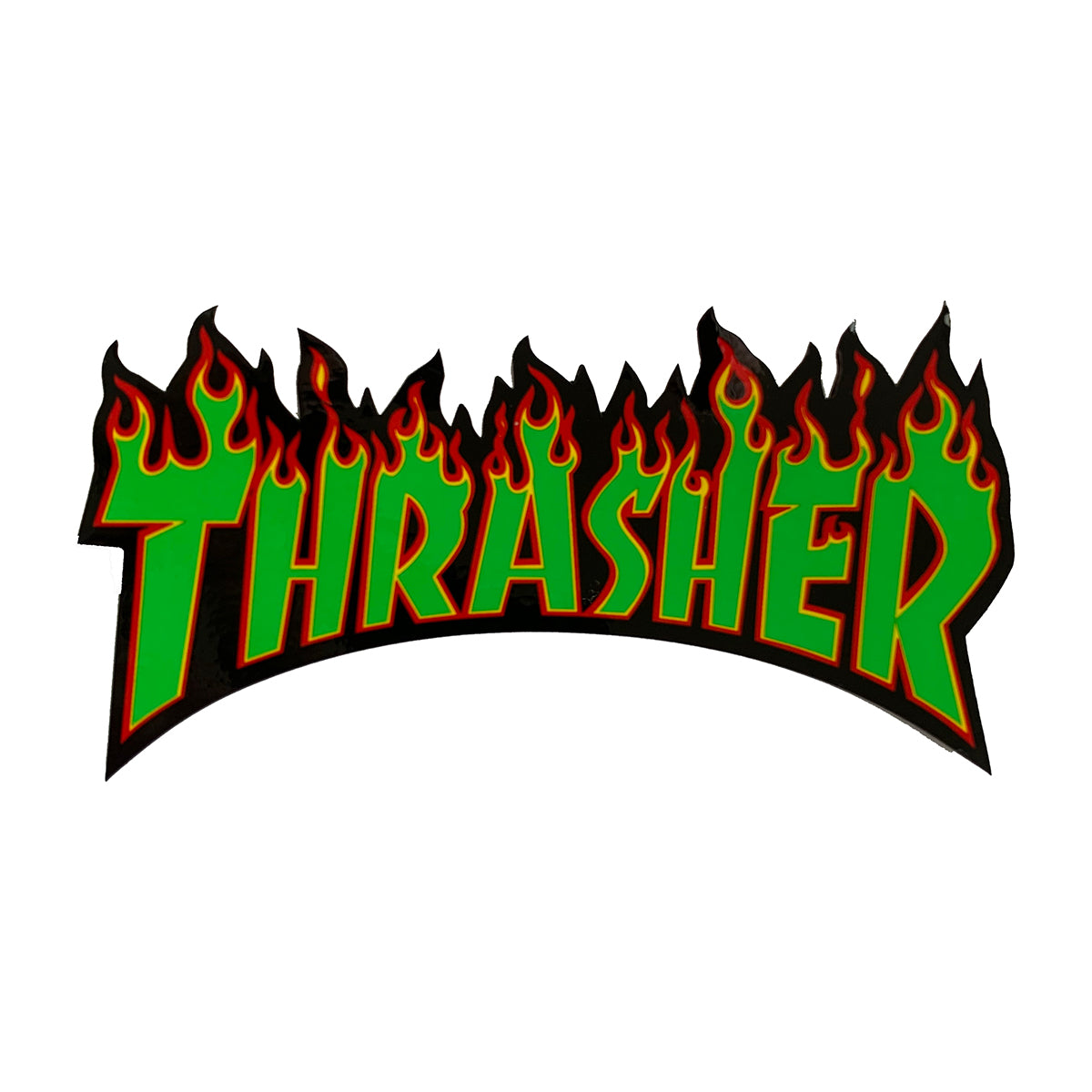 Thrasher Flame Logo Sticker - Black/Green