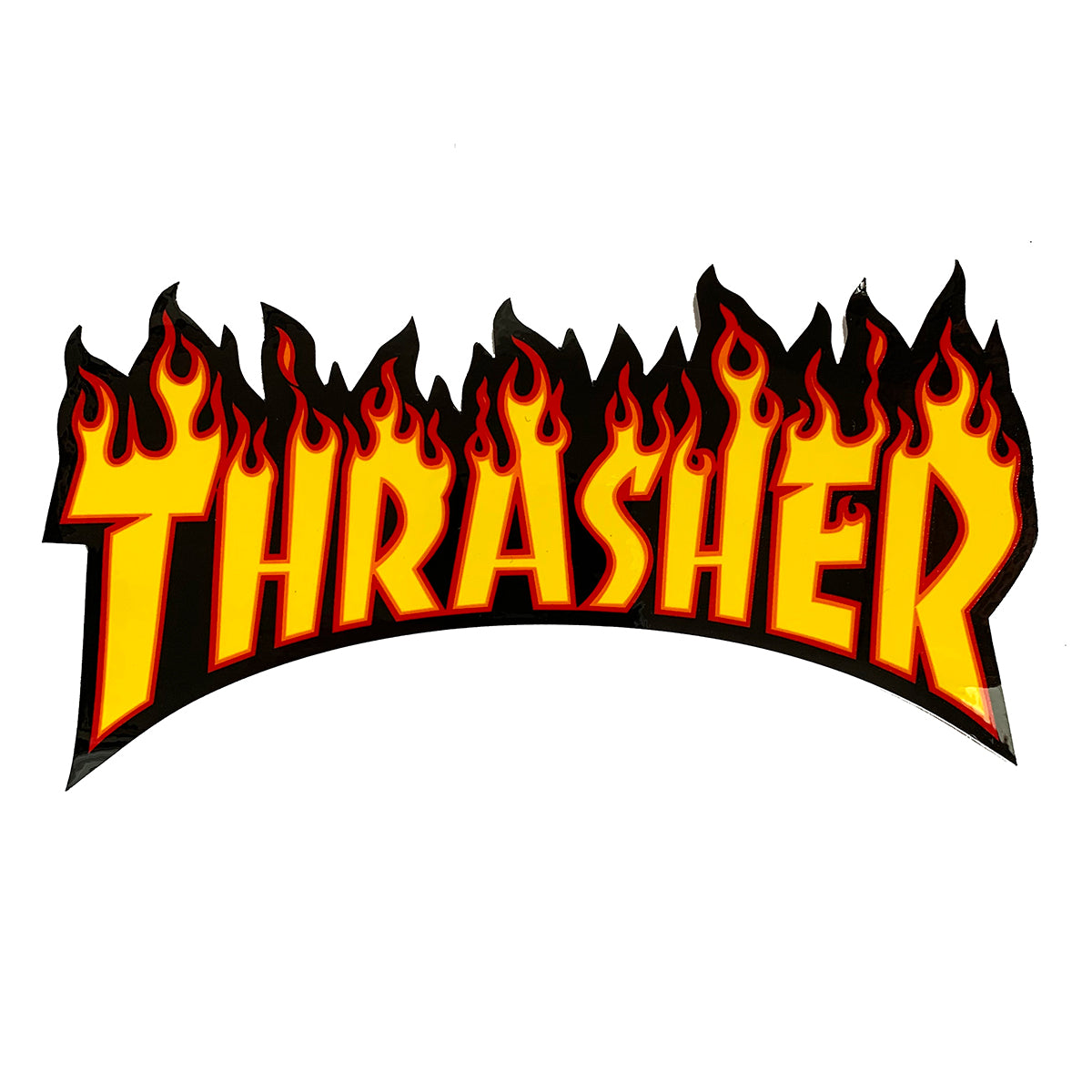 Thrasher Flame Logo Sticker - Yellow/Black