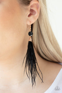 Paparazzi Feathered Flamboyance - Gold Earrings
