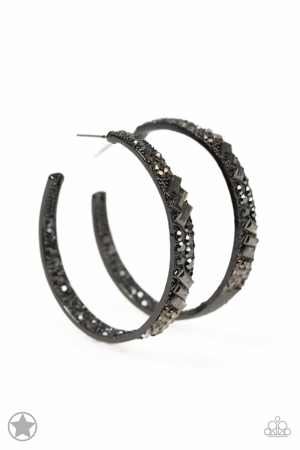 Paparazzi GLITZY By Association - Black Hoop Earrings