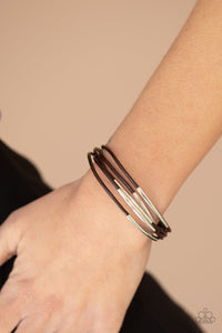 Paparazzi Power CORD - Brown Bracelet B-BR2