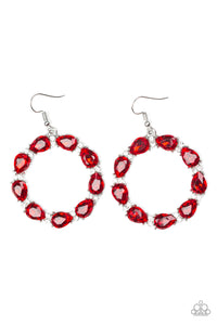Paparazzi Ring Around The Rhinestones - Red Earrings