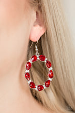 Load image into Gallery viewer, Paparazzi Ring Around The Rhinestones - Red Earrings