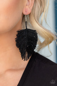 Paparazzi Hanging by a Thread - Black Earrings