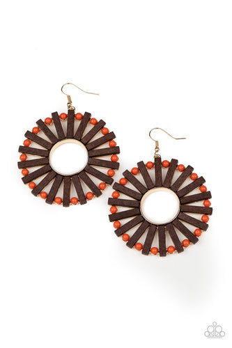 Paparazzi Solar Flare - Orange Earrings