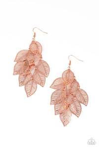 Paparazzi Limitlessly Leafy - Copper Earrings