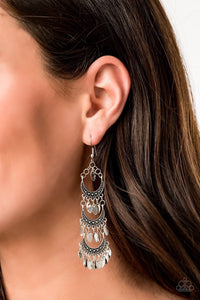 Paparazzi Take Your Chime Silver Earrings