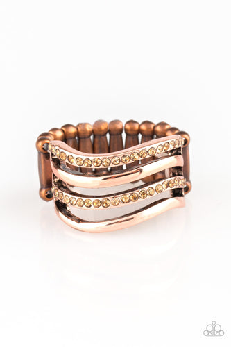 Paparazzi Pageant Wave Copper Papa Ring