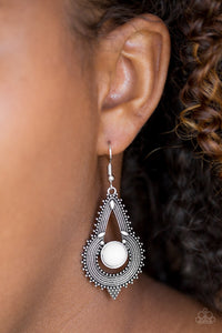 Paparazzi Zoomin Zumba White Earrings