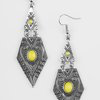 Load image into Gallery viewer, Paparazzi Drifting Dunes - Yellow Earrings