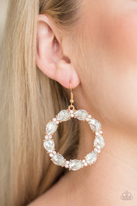 Paparazzi Ring Around the Rhinestones - Gold Earring