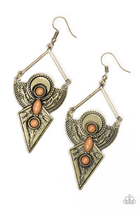 Paparazzi Desert Dynasty - Brown Earring