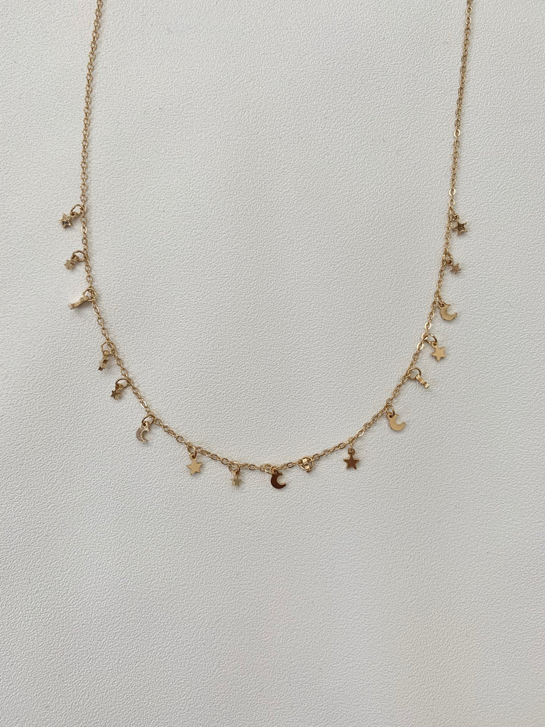 Stars and Moon Gold Necklace