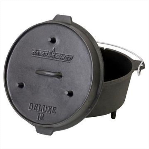 Camp Chef 12 Cast Iron Deluxe Dutch Oven (9 Quart) - Accessories for Barbeques