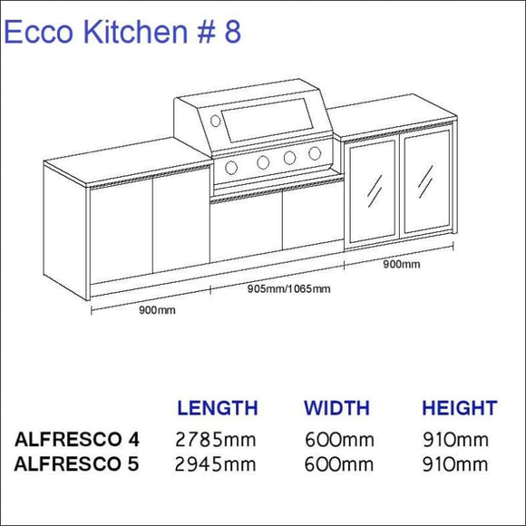 Ecco Kitchen 8 - up to 2945 mm long