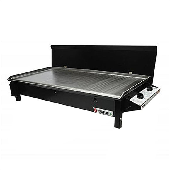 Heatlie 1150 Powder Coated Black - INBUILT FLAT PLATE BBQ WITH LID - Gas Barbecues