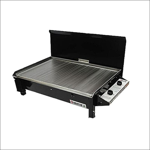 Heatlie 700 Powder Coated Black - INBUILT FLAT PLATE BBQ WITH LID - Gas Barbecues