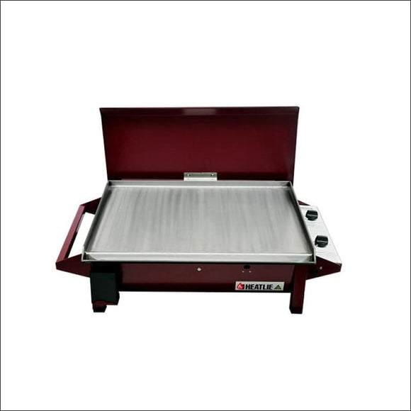 Heatlie 700 Powder Coated Claret - INBUILT FLAT PLATE BBQ WITH LID - Gas Barbecues