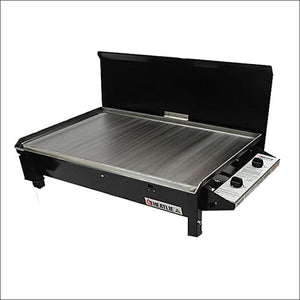 Heatlie 850 Powder Coated Black - INBUILT FLAT PLATE BBQ WITH LID - Gas Barbecues