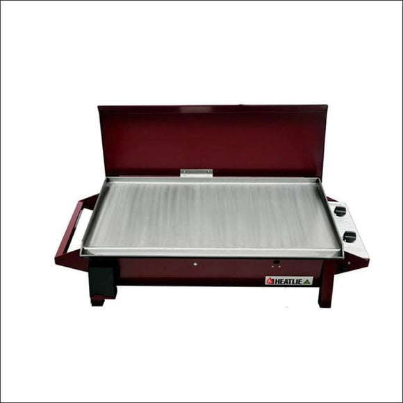 HEATLIE 850 POWDER COATED CLARET - INBUILT FLAT PLATE BBQ WITH LID - Gas Barbecues