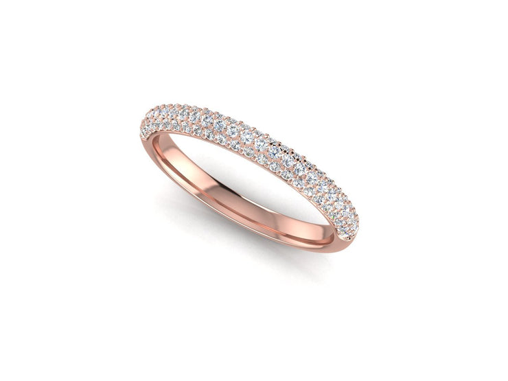 3 Row Micro Pave Set - Rose Gold Wedding Ring King