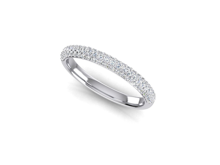 3 Row Micro Pave Set - White Gold & Platinum Wedding Ring King
