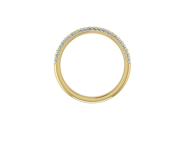 3 Row Micro Pave Set - Yellow Gold Wedding Ring King