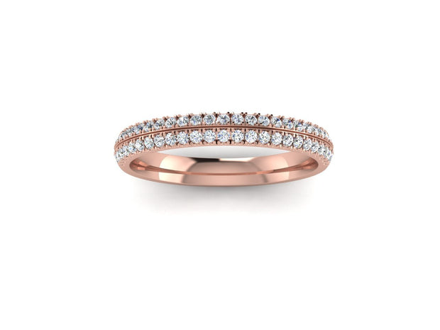 Angel Round Diamond Ring Double Row - Rose Gold Wedding Ring King 18ct Rose Gold