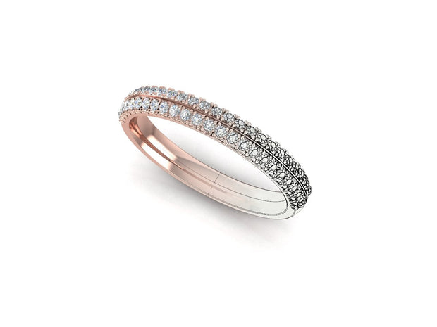 Angel Round Diamond Ring Double Row - Rose Gold Wedding Ring King