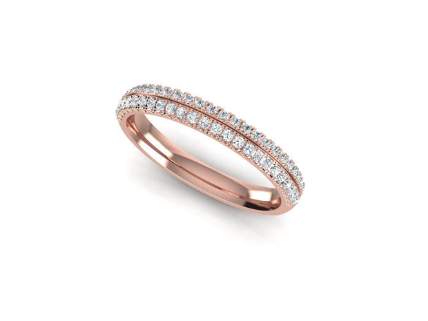 Angel Round Diamond Ring Double Row - Rose Gold Wedding Ring King 9ct Rose Gold