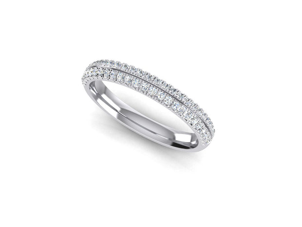 Angel Round Diamond Ring Double Row - White Gold & Platinum Wedding Ring King