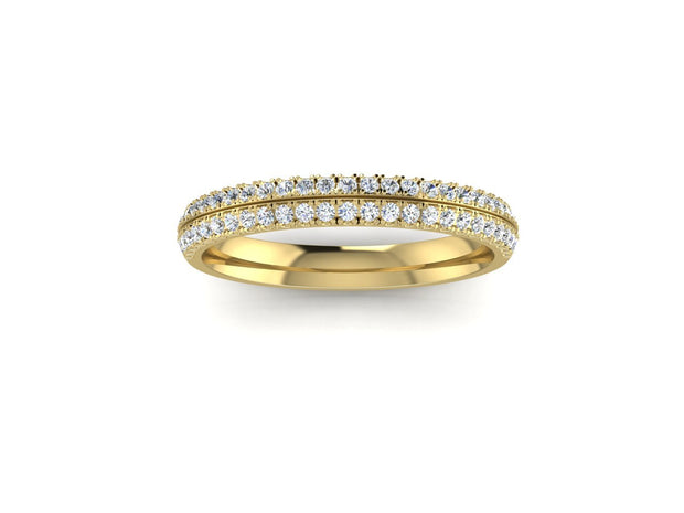 Angel Round Diamond Ring Double Row - Yellow Gold Wedding Ring King 18ct G