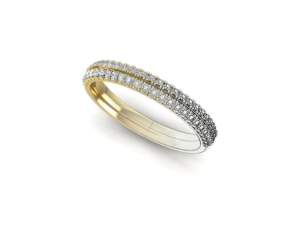 Angel Round Diamond Ring Double Row - Yellow Gold Wedding Ring King