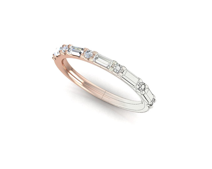 Bag & RB Scallop Round Diamond Ring - Rose Gold Wedding Ring King