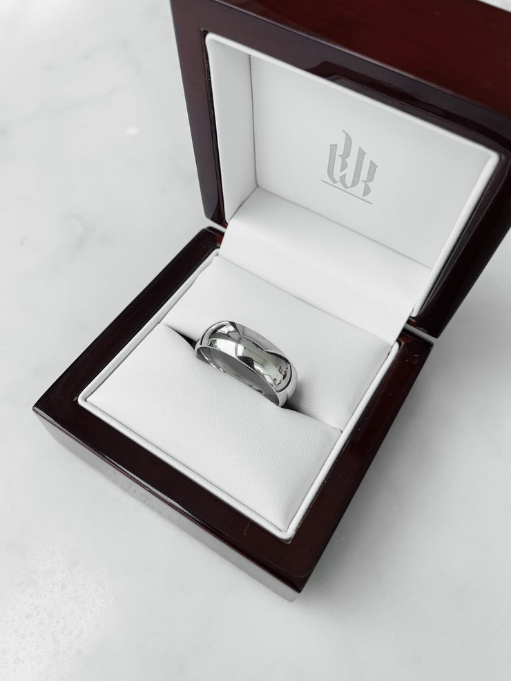 High Dome Gents Wedding Ring - White Gold & Platinum Wedding Ring King