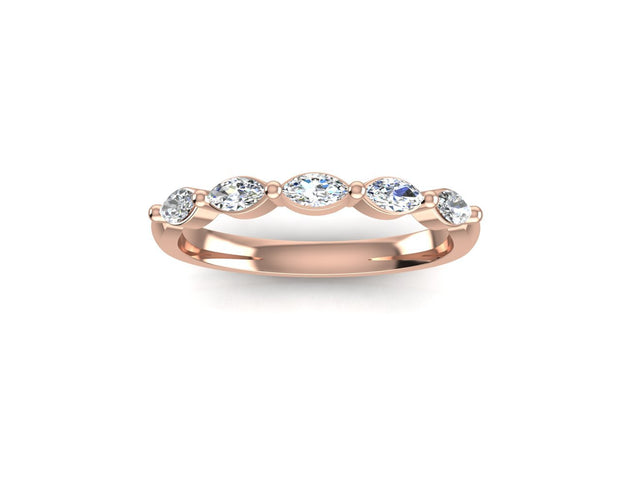 Marquise 5 Diamond - Rose Gold Wedding Ring King