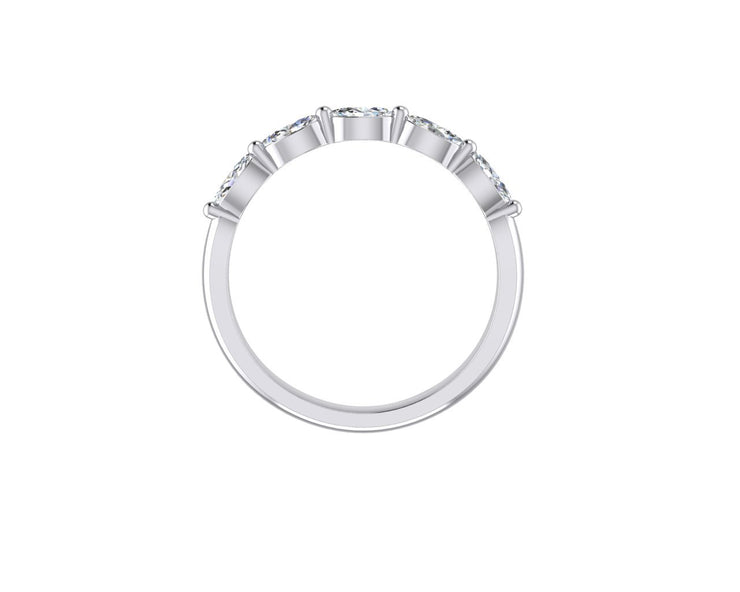 Marquise 5 Diamond - White Gold & Platinum Wedding Ring King